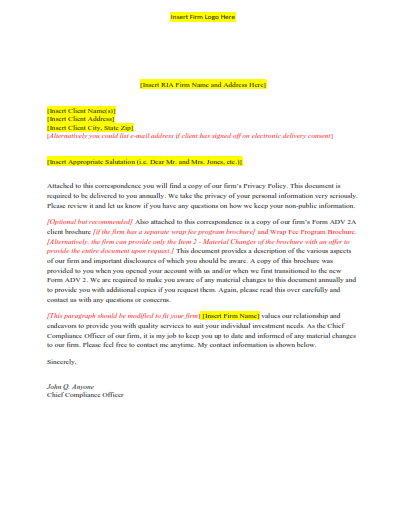 Sample annual investment adviser Form ADV and privacy policy delivery letter