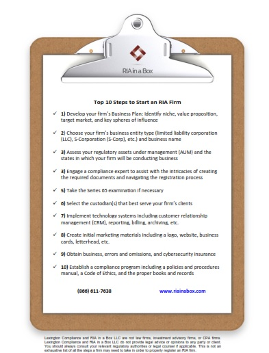10 step checklist on how to start an RIA firm