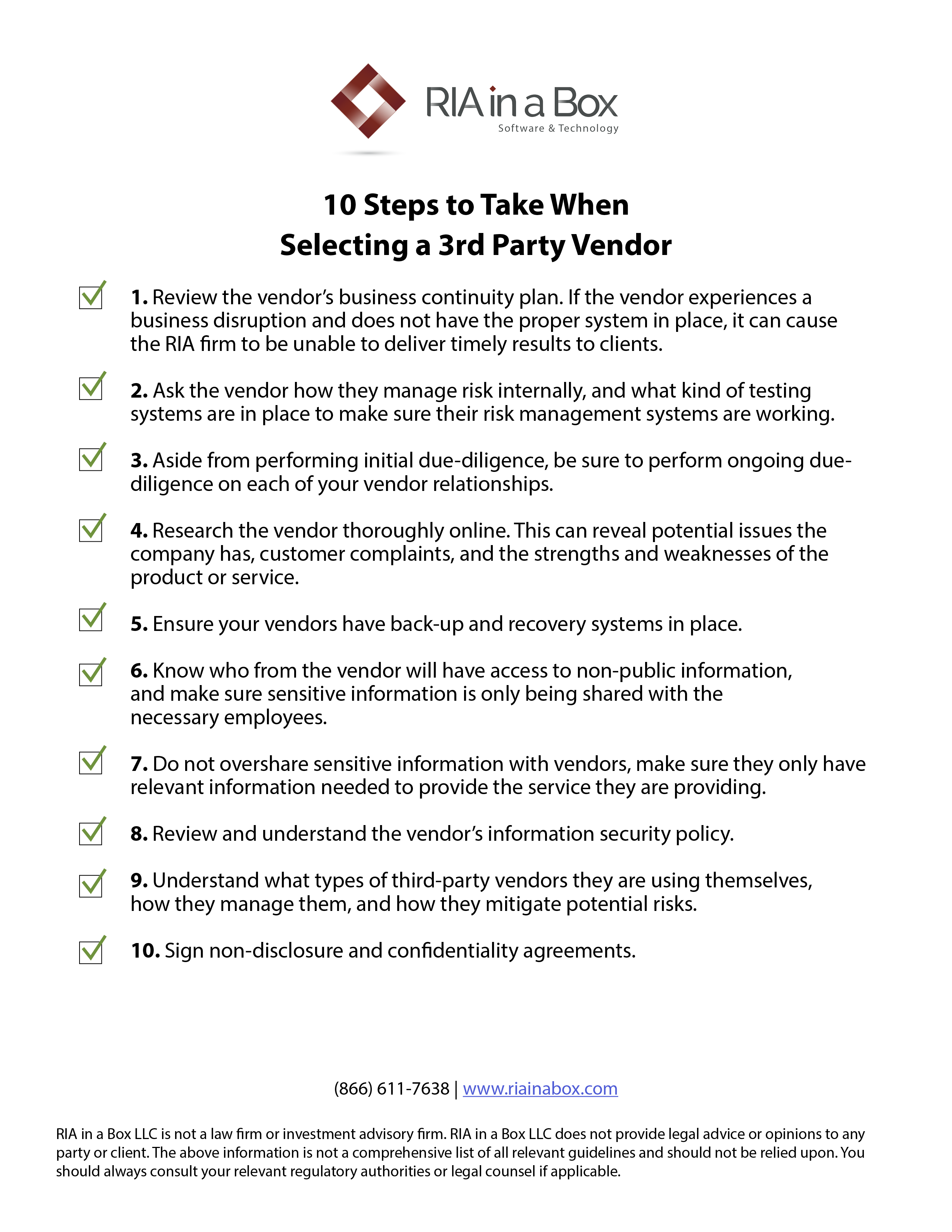10 Steps to Take When Selecting a 3rd Party Vendor