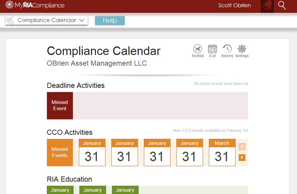 key features of RIA compliance software including compliance calendar