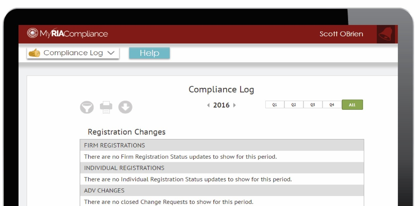 RIA compliance software with online compliance log