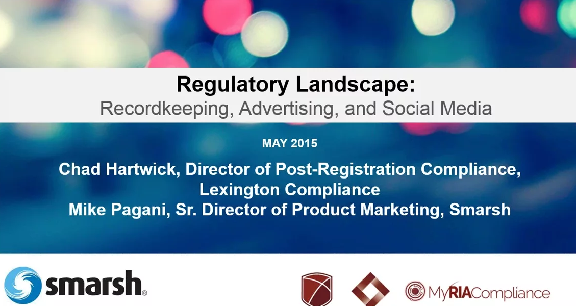 RIA compliance webinar on recordkeeping, advertising, and social media