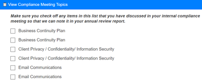 RIA annual compliance meeting template
