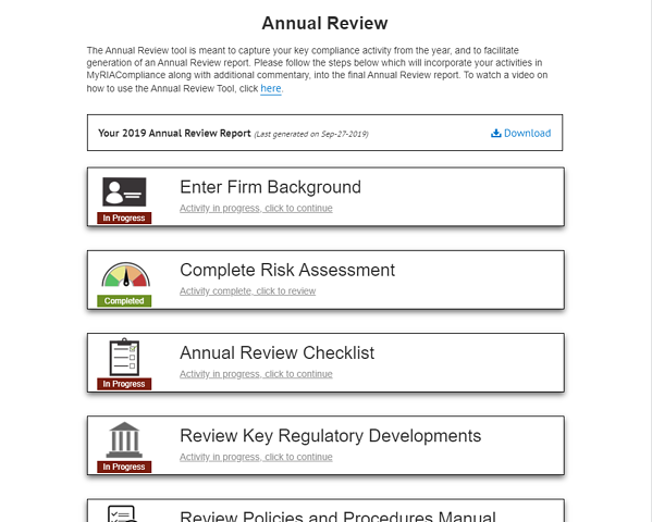 RIA annual compliance program review template