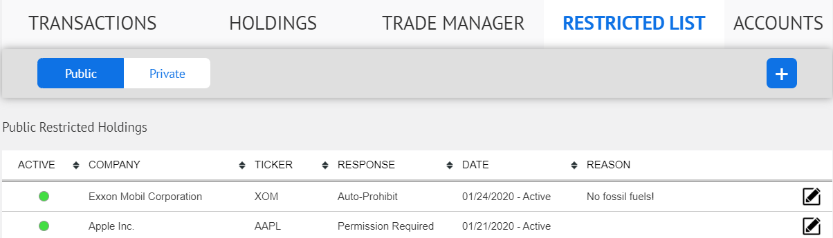 RIA online employee trade request software
