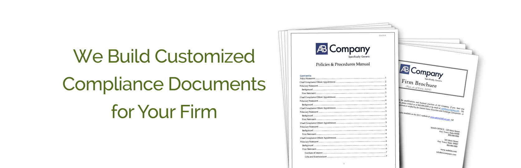 Customized policies and procedures and Form ADV creation