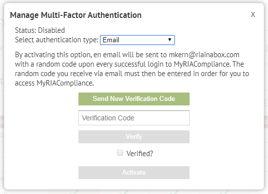 RIA compliance software two factor authentication feature for cybersecurity